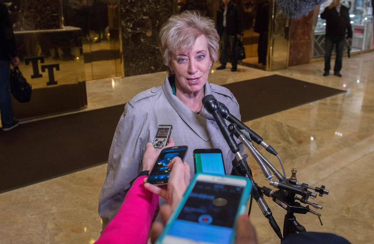 Linda McMahon spoke to the media at Trump Tower last month. President-elect Donald Trump has nominated her to serve as head of the Small Business Administration, a cabinet-level position.